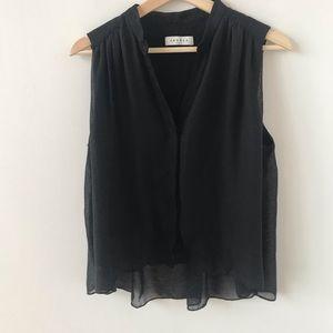 Sandro Paris black double layer sleeveless blouse